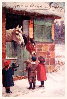 Reprint of retro Christmas card, 10 x 15, Ukraine