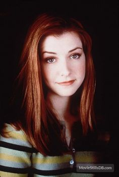 Alyson Hannigan soft beautiful promo photo portrait from Buffy Season 2 in a classic Willow striped button up sweater blouse star of How I Met Your Mother Buffy the Vampire Slayer American Pie and Angel a modern classic beauty. Charisma Carpenter, Marc Blucas, Michelle Trachtenberg, David Boreanaz, Sarah Michelle Gellar, Alyson Hannigan, Beautiful Redhead, Beautiful Celebrities, Joss Whedon