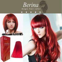 BERINA Bright Red No A23 Permanent Hair Dye Color Cream Unisex Punk #Berina