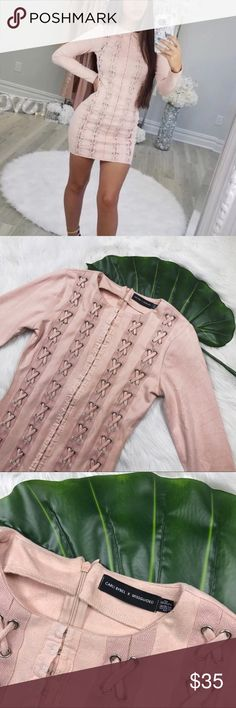 Carli Bybel x MISGUIDED Blush Faux Suede Dress Excellent used condition // No flaws Missguided Dresses Long Sleeve