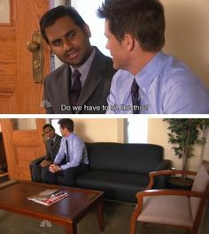 Tom Haverford and Chris Traeger. Parks and Recreation. Parks And Recreation, Parks And Rec Memes, Reaction Pictures, Funny Pictures, Funny Images, Parcs And Rec, Tom Haverford, Nagisa Shiota, I Laughed