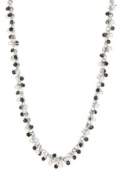 Sterling Silver Black Spinel & Freshwater Pearl Necklace