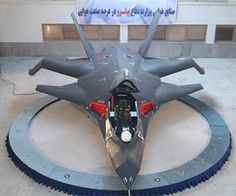 New Iranian fighter jet - Qaher (Conqueror) F-313 - displayed in a hangar in Iran.