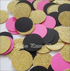 Party #Confetti #GoldGlitter Hot Pink, Black And Gold by JaclynPetersDesigns