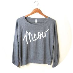 Small Meow Cat Sweater with White Ink. MADE TO by neenacreates, $38.00