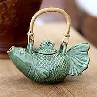 Ceramic teapot, 'Green Koi' by Putu Oka Mahendra, Bali