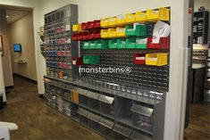 Medical Storage Bins in a Dentist's Office.  This Dentist chose to use Tip Out Bins and Stack & Hang Bins.  View all of our Storage Bins here: http://monsterbins.com/