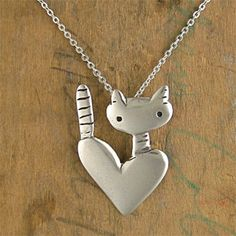 Heart Cat Charm Pendant Necklace by Mark Poulin Jewelry at BestAmericanArts.com