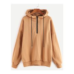 Khaki Dropped Shoulder Seam Zip Detail Drawstring Hoodie (130 MAD) ❤ liked on Polyvore featuring tops and hoodies