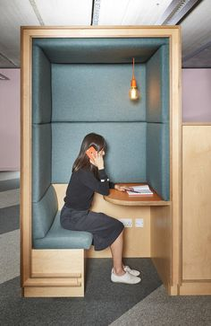 Nice way to create semi-private areas for phone calls in an open office seating. - Houses interior designs - Nice way to create semi-private areas for phone calls in an open office seating. Cool Office Space, Office Space Design, Workspace Design, Office Workspace, Office Interior Design, Office Interiors, Office Designs, Office Spaces, Work Spaces