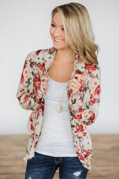 Crazy About You Floral Cardigan