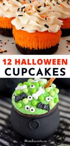 Halloween Cupcakes Easy, Hallowen Food, Halloween Party Snacks, Halloween Baking, Halloween Desserts, Holiday Baking, Halloween Recipe, Easy Halloween Treats, Holloween Party Ideas