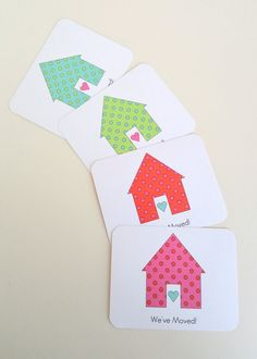 These bright and colorful change of address cards are great for new homeowners to send to friends and relatives to inform them of their new
