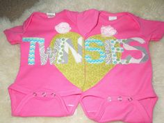Items similar to Twin onesies, baby girl onesies, twinsies, pink onesies, ruffle bottom onesie on Etsy - My list of the most beautiful baby products Twin Girls, Twin Babies, Cute Babies, Babies Stuff, Twin Twin, Twin Baby Clothes, Twin Baby Gifts, My Baby Girl, Baby Love
