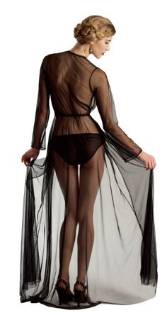 Angela Friedman Clair de Lune robe in mesh and lace