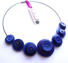 Blue Button Necklace  £10.00