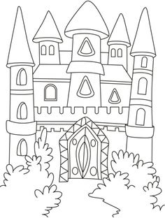 A magical castle in the forest coloring pages | Download Free A magical castle in the forest coloring pages for kids | Best Coloring Pages
