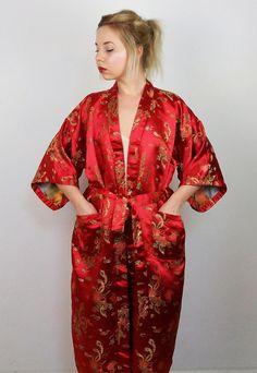 Vintage 70's Gold Dragon Embroidery Kimono | Maxi Robe Wrap in Red | Kimono Dress | Long Wrap Kimono Robe | Authentic Chinese Kimono by SarraMurra on Etsy