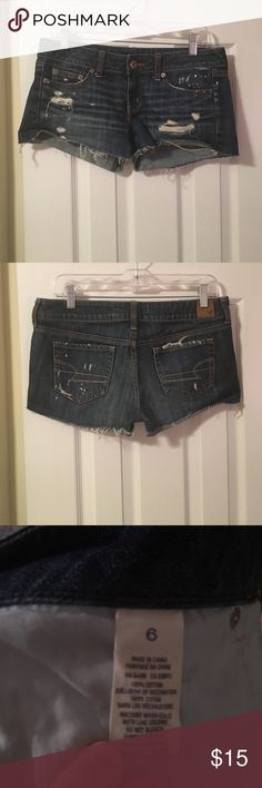 SALE! American Eagle Outfitters Jean Shorts I will be donating THIS WEEKEND IF NOT BOUGHT! MAKE AN OFFER! This cute pair of jean shorts feature a trendy and casual distressed look with paint splatter details. American Eagle Outfitters Shorts Jean Shorts