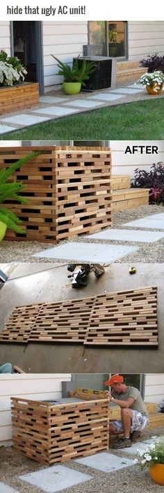 Wooden AC Screens Come In a Variety of Styles Holiday Outdoor Garden Project Ide… - Zaun Ideen Pallet Landscaping Ideas, Backyard Landscaping, Outdoor Projects, Garden Projects, Home Projects, Outdoor Spaces, Outdoor Living, Outdoor Decor, Cement Planters