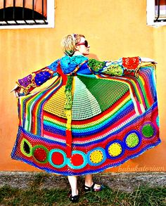 Kaleidocoat - Multicolor Multimotif Striped And Hooded Hippie Crochet Coat