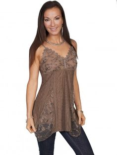 Scully® Women's Brown Lace Western Camisole