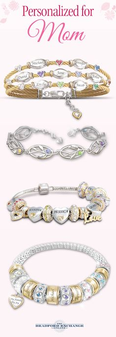 Want to help create a meaningful family bracelet for Mother's Day? We have some beautiful options to personalize for Mom by adding engraved names, birthstones and a whole lot of love. Personalization is always free and The Bradford Exchange offers the best guarantee in the business with jewelry returns up to 120 days and free return shipping.