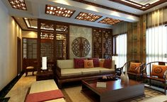 Chinese Retro Wooden Partition For Living Room And Dining