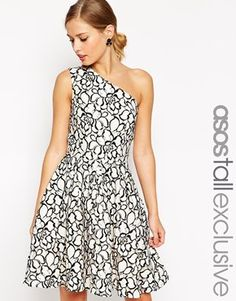 ASOS TALL Exclusive One Shoulder Lace Skater Dress