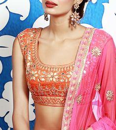 Pink Embroidered Silk Lehenga Set