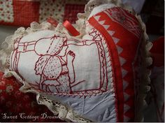 lavender filled hearts made with pieces of antique linens