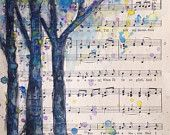 Watercolor painting on vintage upcycled sheet music