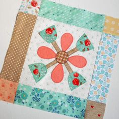 Block 24 - Bloom Block Two. Simple applique in the Bloom/Calico Days sew-along with Lori Holt.
