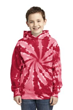 Port & Company Youth Essential Tie-Dye Pullover Hooded Sweatshirt. PC146Y Red