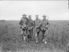 British soldiers escorting wounded German POWs at La Boisselle after the Battle of Albert/3 July 1916