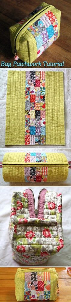 looks like a nice way I could use my hexies - - - Easy to manufacture handbag in patchwork technique.Easy sew handbag in patchwork technique. ~ How to sew free tutorial for beginners. Ideas for sewing projects.Patchwork Pouch Love this! Quilting Tutorials, Sewing Tutorials, Sewing Projects, Bag Tutorials, Sewing Diy, Beginners Sewing, Sewing Ideas, Patchwork Bags, Quilted Bag