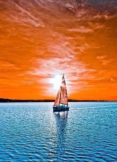 "coiour-my-world: "" Sailboat sunset "" Beautiful World, Beautiful Places, Beautiful Pictures, Foto Fantasy, Beautiful Sunrise, Amazing Nature, Nature Photography, Stunning Photography, Scenery"