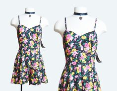 Vintage 90 Ditsy FLORAL GRUNGE Romper Playsuit / 1990s Sleeveless Pink Black One Piece Shorts s m