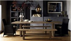 Love the idea of a bench table with two arm chairs at the end.