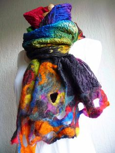 nuno felted scarf, wrap, handmade, silk, felted wool , art to wear, MADE TO ORDER, black, red, blue, green, pink