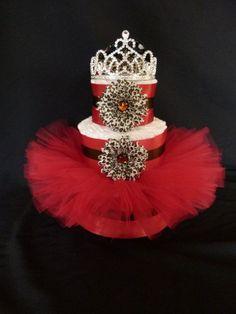 Diva Princess Red Cheetah Tutu Baby Diaper Cake Newborn Baby Girl Gift