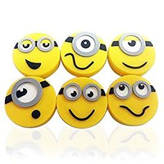 Minions Vibration Damperners, kids love these for their racquets!  Great for tennis camp give-aways #tennis