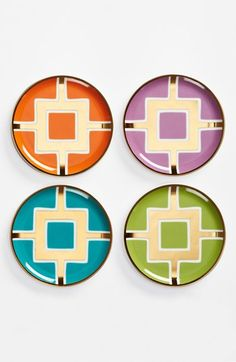 Jonathan Adler 'Nixon' Coasters (Set of 4) Gilt geometrics shine atop colorful backdrops on a delightful quartet of porcelain coasters.