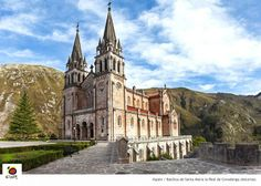 Basílica de Covadonga, construida en piedra caliza de ese color #spain
