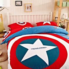 Captain america bedding set Fast Free Shipping Worldwide everyday. 100% cotton fabric Comfortable like baby skins. Bedding set includes 5pc with comforter.