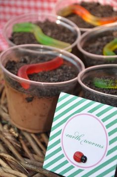chocolate pudding, crushed oreos & gummy worms in tiny flower pots