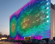The Greenpix Zero Energy Media Wall is the world's largest color LED display, and has a self sustaining energy life-cycle. Harvesting sunlight collected during the day via photovoltaic solar cells, the wall uses stored solar energy to light up the LED's for a spectacular nighttime show.