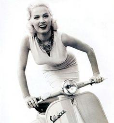 Mamie Van Doren on a Vespa, 1950s.