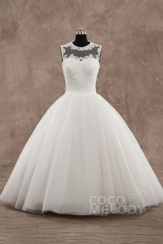 Pretty+Ball+Gown+Illusion++Ankle+Length+Tulle+Ivory+Sleeveless+Zipper+With+Buttons+Wedding+Dress+with+Appliques+CWXF15001