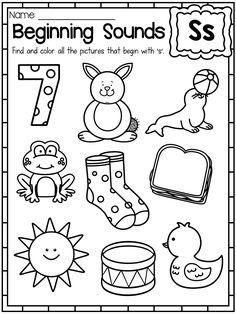 Beginning sounds Preschool Worksheets Letter S Activities, Letter S Worksheets, Phonics Worksheets, Kindergarten Worksheets, Class Activities, Letter Tracing, Letter Recognition, Alphabet Activities, Teaching Kindergarten